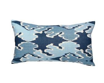 Kelly Wearstler Bengal Bazaar LUMBAR Designer Pillow Cover in Teal - 1 sided OR 2 sided - Made to Order - Choose Your Size