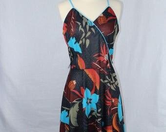 Black Spaghetti Strapped Floral Leaf Print Dress w/ Vibrant Colors Size 10