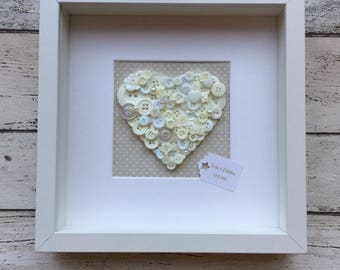Handmade Button Art Love Heart Personalised 3D Picture Frame Valentines Gift Mothers Day Engagement Wedding Anniversary Gift