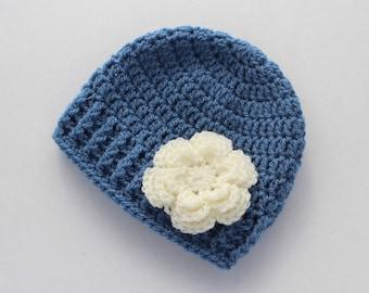 Crochet baby hat, baby girl hat, blue, girl winter hat, infant hat, crochet beanie, baby beanie - MADE TO ORDER