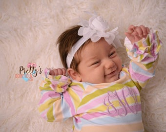 Coming home outfit girls Monogram gown~Monogramed newborn gown- Stripe