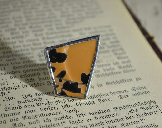 Porcelain yellow and black ring made from soviet little plate