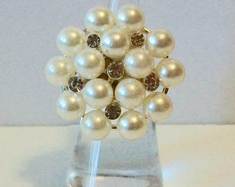 Elegant Extra Large Cluster Pearl and Rhinestone Fashion Ring Adjustable Band