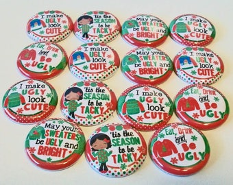 Fun Ugly Tacky Christmas Sweater Set of 15 1 inch Flat Back Buttons Embellishments Buttons Flair