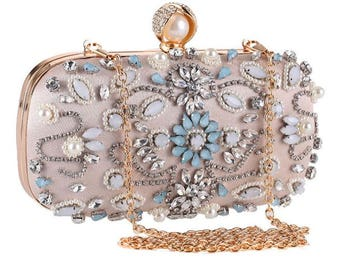 CHARLOTTE luxury evening clutch bag rhinestones pearls, wedding party clutch bag rose gold chain, gift for her, high fashion accessories