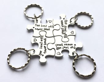 Puzzle piece keychain, Best Friends, Interlocking Keychains, Our Bond will Never Break, uk seller. Friends' gifts, best friends' gifts,