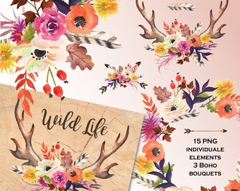 Watercolor Bo-ho Clip art. Autumn flowers. Deer horns and flowers, wedding clip art, digital clipart, hand painted clipart