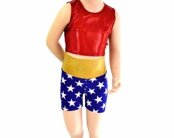 Girls Wonder Woman Inspired Blue & White Star Shorts and Red Sparkly Jewel Crop Top Super Hero Set Sizes 2T 3T 4T and 5-12 154575