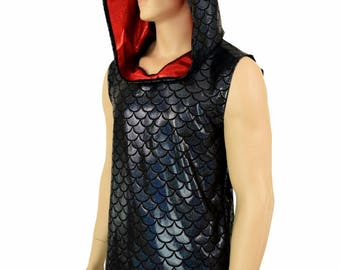 Mens Sleeveless Black Dragon Print Holographic Red Spiked Dragon Hoodie Rave Festival Clubwear EDM Party Animal -151184