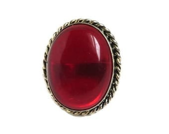 Vintage Red Glass Ring, Cabochon Ring, Braided Silvertone Ring, Costume Jewelry Statement Ring Size 6.5