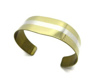 Sterling Inlay Cuff, Vintage Lillian Vernon Goldtone Cuff, Sterling Silver Inlay Bracelet, Gift for Her
