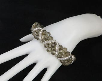 Vintage Smoky Gray Stretch Bracelet, Rhinestone Bracelet, Gray Beaded Bangle