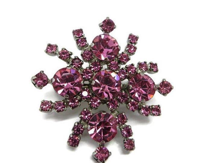 ON SALE! Kramer Pink Rhinestone Flower Brooch, Vintage Designer Signed Costume Jewelry Gift Idea
