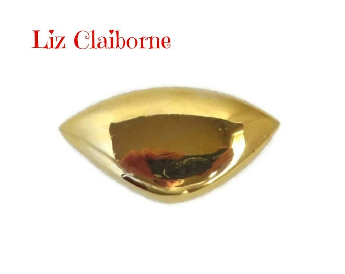 Liz Claiborne Brooch - Vintage Gold Tone Wedge Pin, Gift For Her, Gift Box, FREE SHIPPING