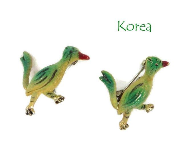 Roadrunner Brooches - Vintage 1950s Korea Green and Yellow Roadrunner Brooch Pair, Gift for Her