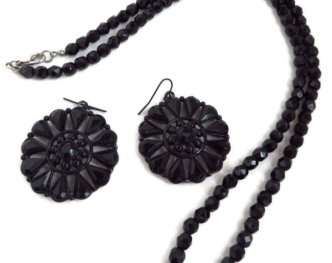 Black Bead Necklace, Earrings - Vintage Faceted Bead Necklace, Bead and Glass Pinwheel Pierced Dangle Earrings, Jet Jewelry Set