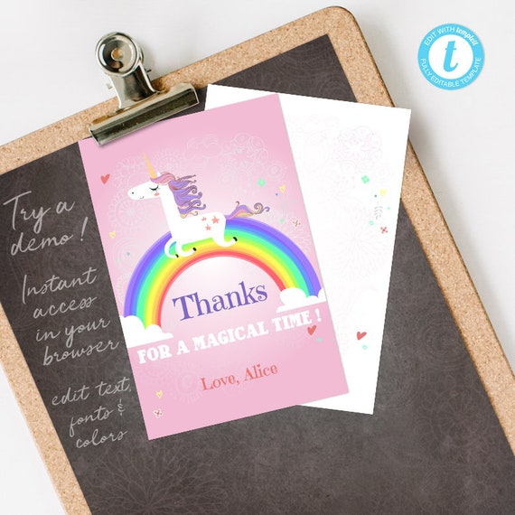 Unicorn Thank You Card, Unicorn Thank You Note, Rainbow Thank You Card, editable INSTANT DOWNLOAD printable at home