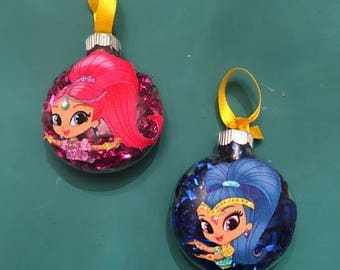 Handmade Shimmer and Shine Chekstmas Ornaments! Your choice of gene!
