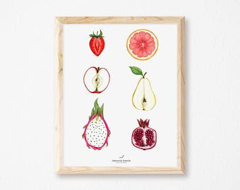 Art print with half fruits, print with fruits, illustration by Joannie Houle