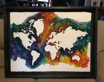 World Map, Watercolor, Painting, Watercolor world map,