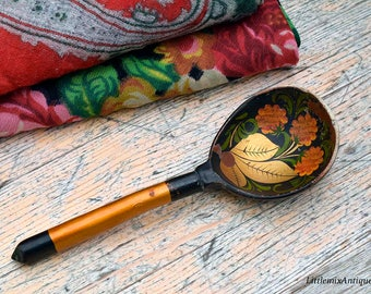 Vintage Soviet Era Traditional Russian Folk Art Khokhloma Lacquer Ware Hand painted Wooden Spoon Retro Russian Folk Art Spoon Souvenir