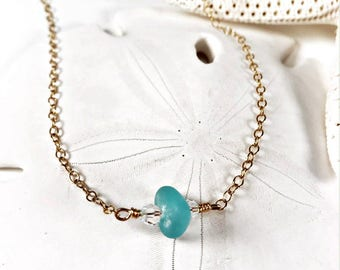 Sea Glass Necklace|Seaglass Necklace|Sea Glass Jewelry|Sea Glass Choker|Yellow Choker|Gold Filled Necklace|Gift for Her|Birthday Gift| gift|