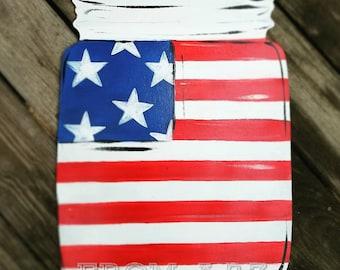 SALE American Flag Mason Jar