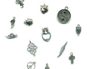 13 charms, pendants, various themes in antique silver metal
