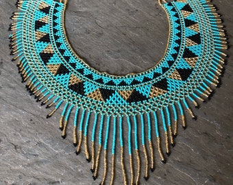 Tribal beaded  bib necklace ~ turquoise gold and black