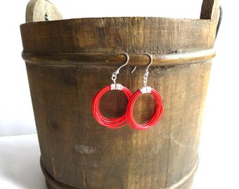 Jewelry design. Upcycled earrings. Recycled electric cables. Cable red earrings ABA. Sterling silver earrings. Vegan earrings. Gift for her.