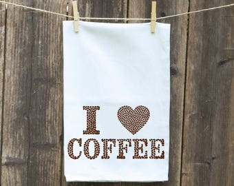Coffee Kitchen Towel, Custom Monogrammed Personalized, Housewarming, Hand Towel, Dishcloth Tea Flour Sack, Cleaning, Fun