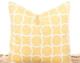 SALE ENDS SOON Saffron Yellow Circles Pillow Cover, Yellow Pillows, Light Yellow Pillow Covers, Throw Pillow Covers, Nautical Pillows, Geome