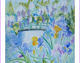 Watercolor - at the edge of the garden at Giverny