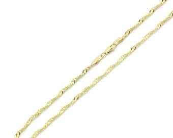Men Women 14K Yellow Gold Chain 2.3mm Singapore Chain Necklace(MN131-175)