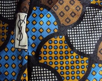 Silk geometric abstract design necktie by Yves Saint Laurent Paris