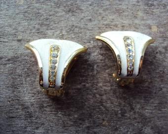 Retro Art Deco white enamel diamanté gold tone clip on earrings