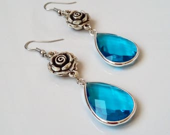 Light blue earrings, flower earrings, crystal earrings, nickel free earrings, rose earrings, drop earrings , gift for her, dangle earrings