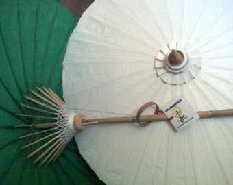"""2-PACK Waterproof Cotton Canvas Parasols 28"""" canopy & bamboo pole"""