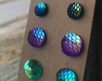 Mermaid stud earrings charms mermaid earrings mermaid jewelry iridescent charms stud kid stud earring blue stud earrings green 12mm charms