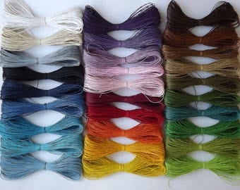 wax cotton cord 1mm, kit, set - 28 colours - 4 meters or 8 meters set