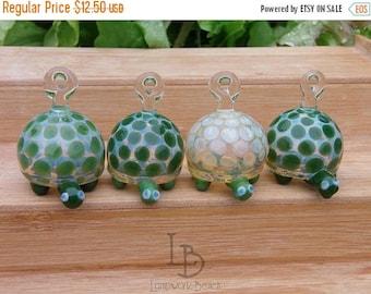 SALE 20% OFF Handmade Lampwork Glass Tiny Turtle Ornaments