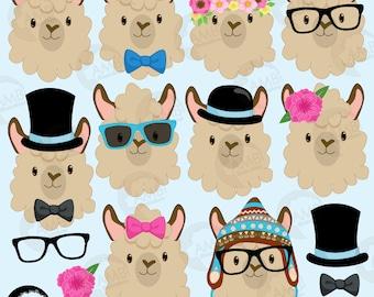 Llama Heads Clip Art, Llama clipart, Alpaca clipart for scrapbooking, Cupcake Toppers, Paper Crafts, AMB-1986