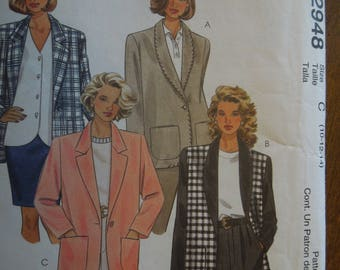 McCalls 2948, sizes 10-14, lined or unlined jacket, UNCUT sewing pattern, craft supplies
