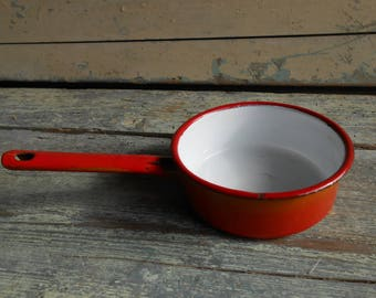 Vintage orange and red enamel pan, small pan, enamel saucepan