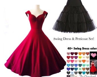 SALE! 2 Piece Set! Retro Wine BRIDESMAID Dress and Black Petticoat, Pin Up Wedding Party Dress, Custom Made by Hardley Dangerous Couture