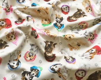 Elizabeth's Studio Adorable Pets 3803 Dogs Cream Patchwork Quilting Fabric