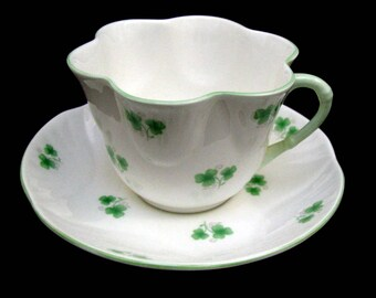 SHAMROCK Fluted Tea Cup & Scalloped Saucer Crown Staffordshire England Delicate Fine Bone China Hand Painted Teacup Irish Clover Shamrocks