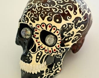 Sculptures, Figurines, Art and Collectibles, Day Of The Dead, Sugar Skulls, Day Of The Dead Items, In Red and Black, Hand Painted, Skulls