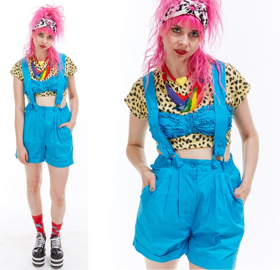 Vtg 80s ROMPER Jumpsuit SUSPENDERS Shorts Cut Out One Piece Onesie Bandeau Overalls Pinafore Retro Kitschy Club Kid Raver Avant Garde Retro