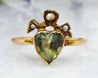 Sale! Boxed Antique Victorian 15ct Gold Sacred Pearl Crowned Heart Peridot Ring Size K